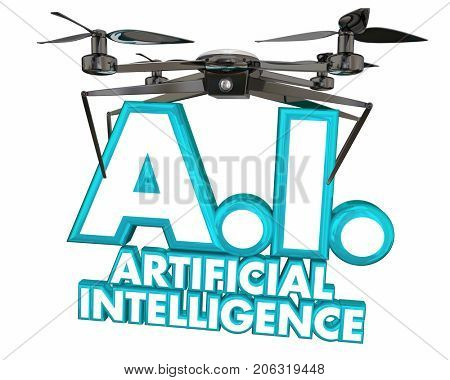 AI Artificial Intelligence Drone Machine Learning Sentient 3d Illustration stock photo