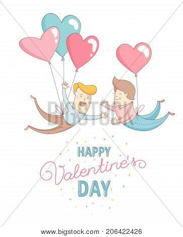 Funny cute gay men characters flying by heart balloons to congratulate each other with Happy Valentine's Day. Flat line design style. Vector illustration. stock photo