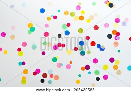 Festive party or carnival confetti on pink background stock photo