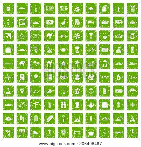 100 tourism icons set in grunge style green color isolated on white background vector illustration stock photo