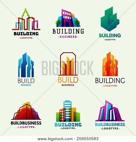 Skysers Buildings Logo Tower Office Label City Architecture House Badge Business Apartment Vector Illustration Modern Cityscape Construction Exterior