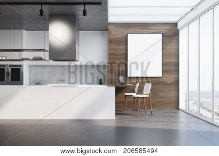 Upscale kitchen interior with wooden walls a dark concrete floor a loft window and a white countertop. A vertical framed poster. 3d rendering mock up stock photo