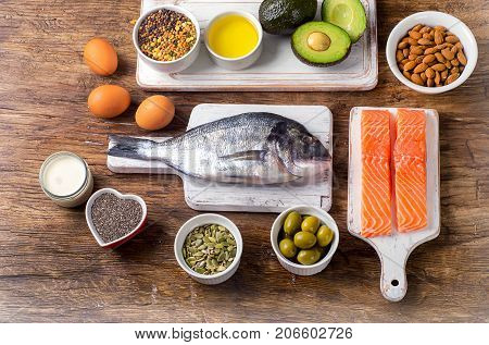 Food rich in omega 3 fatty acid and healthy fats. Healthy diet food concept. Flat lay stock photo