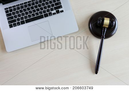 justice and law concept judge the gavelworking with digital computer law firms giving confidence stock photo