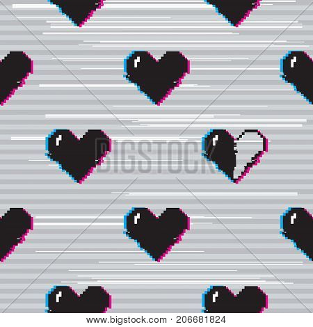 Vector seamless pattern with 8 bit pixel art styled black hearts on grey background with glitch VHS effect. One heart is half full. stock photo