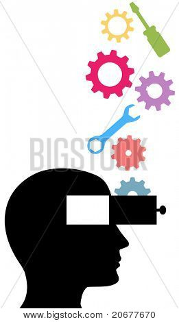 Tools and gears drop into the open mind person learning technology subjects stock photo