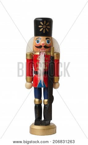 Christmas nutcracker toy soldier traditional figurine Isolated on white background stock photo