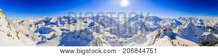 Winter panorama landscape from Mont Fort and famous Matterhorn, Dent d'Herens, Dents de Bouquetins, Weisshorn; Tete Blanche in the background, Verbier, 4 Valleys, Switzerland. stock photo