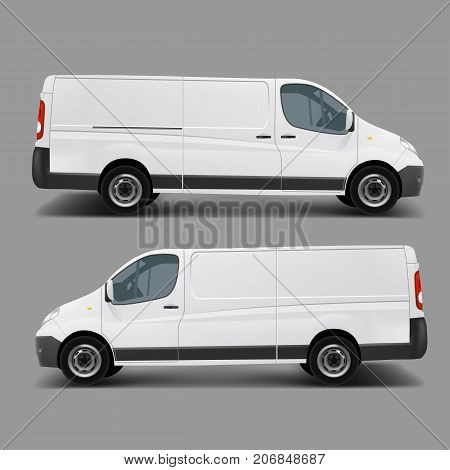 Blank white cargo minibus realistic vector template right, left side view. Commercial transport for small and middle business, delivery van, postal service car ready for brand, corporate mockup design stock photo