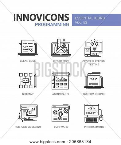 Programming - modern essential vector line design icons set. Clean code, web, responsive design, cross platform testing, mobile device, sitemap, admin, panel, custom coding, software, computer stock photo