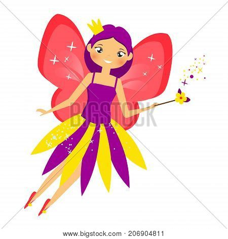 Beautiful flying fairy in crown flapping magic stick. Elf princess with wand. Cartoon style. Isolated Vector illustration in cartoon style for kids and babies stock photo