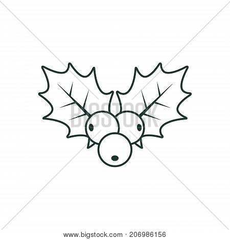 Holly berry Christmas line icon. Vector flat style outline illustration. stock photo