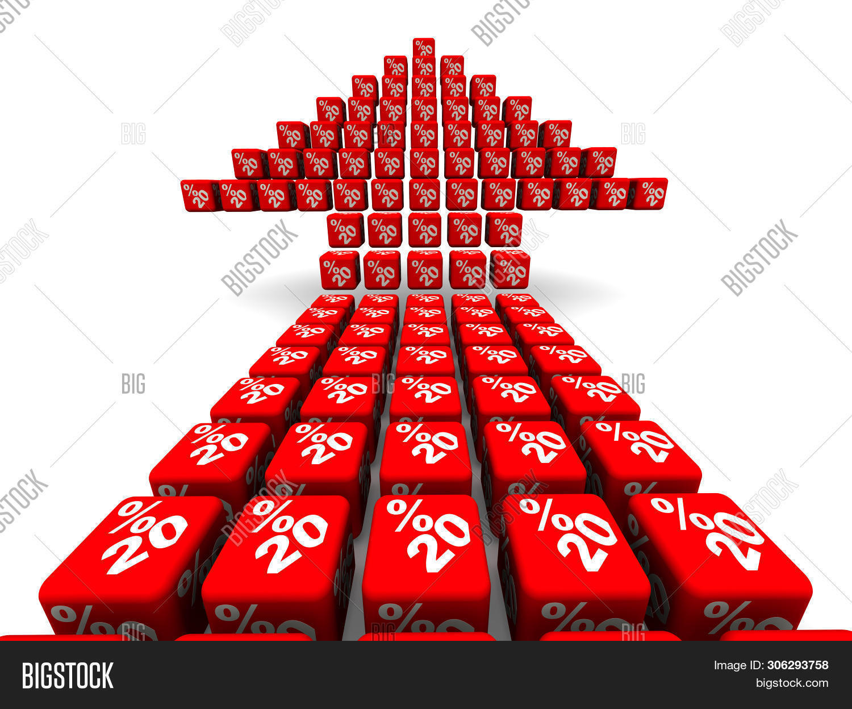 Twenty Percent Growth. Arrow Symbol Made From Cubes. Red Arrow Made From Red Cubes Labeled Twenty Pe