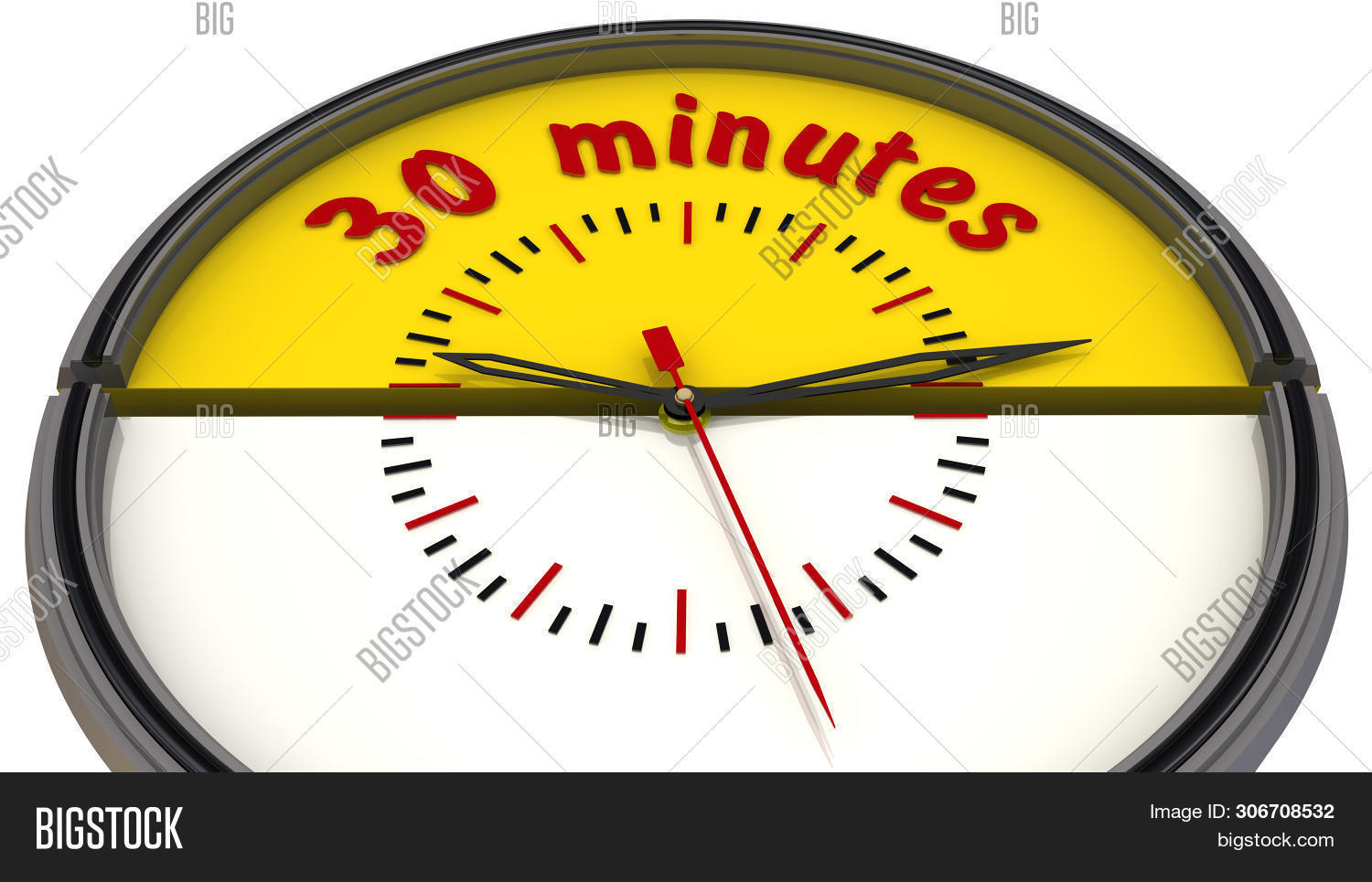 Thirty Minutes On The Clock. The Time Interval Of Thirty Minutes On The Analog Clock. Isolated. 3d I