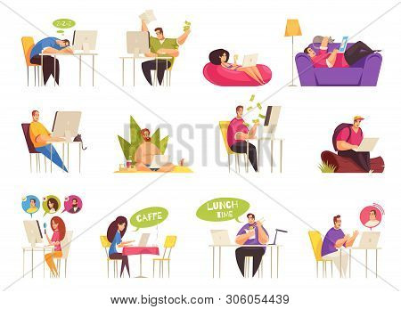 Freelancer at work flexible remote home traveling relaxing on beach icons big set flat cartoon vector illustration stock photo