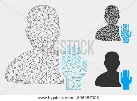 Mesh elector model with triangle mosaic icon. Wire carcass polygonal mesh of elector. Vector mosaic of triangle parts in variable sizes and color tinges. Abstract 2d mesh elector, stock photo
