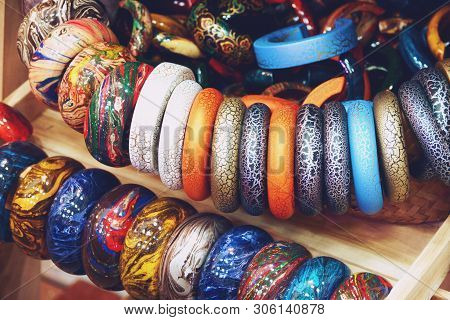 Modern Luxury accessories wooden arm bracelet jewelry stock photo
