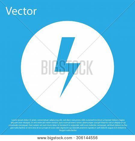 Blue Lightning bolt icon isolated on blue background. Flash icon. Charge flash icon. Thunder bolt. Lighting strike. White circle button. Flat design. Vector Illustration stock photo