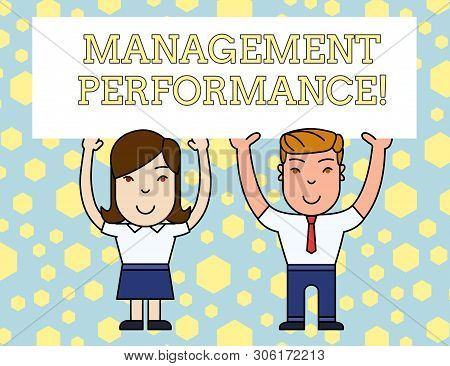 Word writing text Management Perforanalysisce. Business concept for feedback on Managerial Skills and Competencies Two Smiling People Holding Big Blank Poster Board Overhead with Both Hands. stock photo