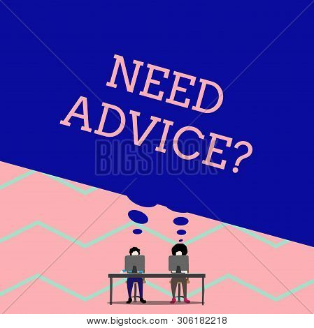 Word writing text Need Advice Question. Business concept for Asking someone if he want recommendations or guidance Man with purple trousers sit on chair talk to fellow near computer table. stock photo