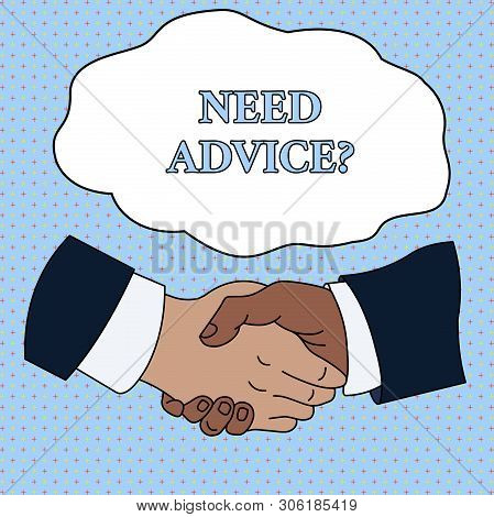 Word writing text Need Advice Question. Business concept for Asking someone if he want recommendations or guidance Hand Shake Multiracial Male Business Partners Colleagues Formal Shirt Suit. stock photo