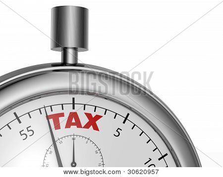 one stopwatch with the word tax printed on the dial (3d render) stock photo