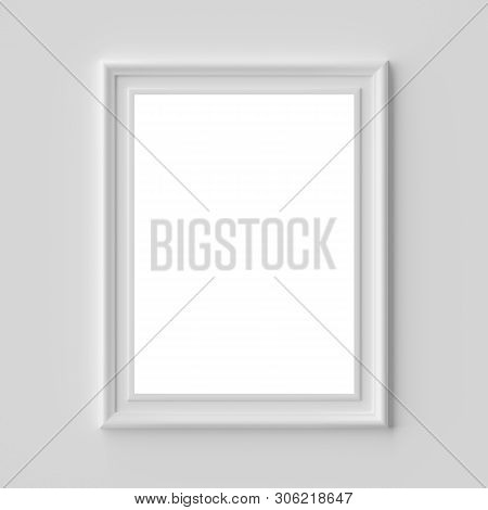 White blank picture or photo frame on white wall vertical, with shadows with copy-space, white colorless picture frame template, art frame mock-up 3D illustration stock photo