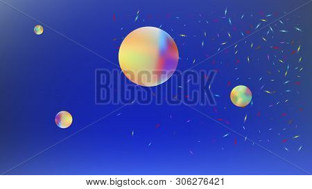 Recent space fantasy. Background texture, blur. Common colorific illustration.  Azure colored background.  Recent colorful new abstraction. Colorful new space art. stock photo