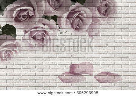 3d wallpaper, roses on white brick texture. The fresco effect. The original panel will turn your room in with the most recent world trends in interior fashion. stock photo