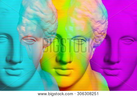 Modern conceptual art poster with three colorful antique Venus bust. Contemporary art collage. stock photo