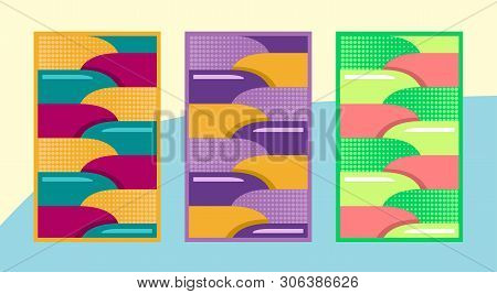 Art pattern of summer backgrounds with bright juicy colors, 3D effect and geometric elements. Abstract design cards for print, flyers, banners, invitations, special offers, announcements, covers stock photo