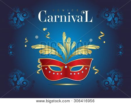 Fun and beautiful image of the festival, for design, cards and invitations. Venetian carnival banner with a luxurious mask and streamers in vector illustration stock photo