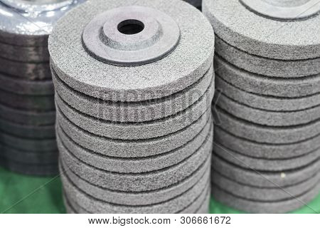 the industrial scouring wheel pad ; for surface treatment stock photo