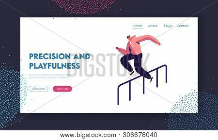 Parkour in City Website Landing Page. Young Man Jumping Over Barrier on Street, Urban Sport, Teenager Active Lifestyle, Sport Outdoors Activity Web Page. Cartoon Flat Vector Illustration, Banner stock photo