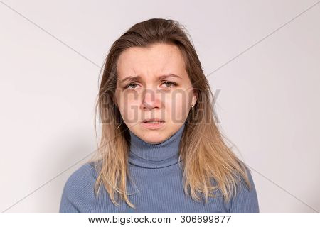 People, violence and abuse concept - Woman victim suffering from abuse, harassment stock photo