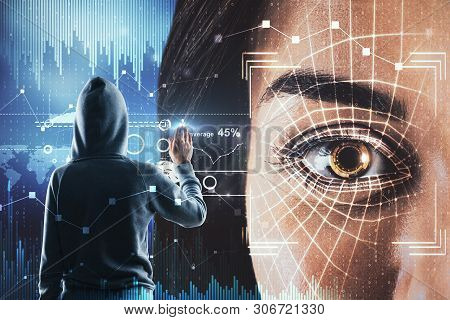 Hacker with biometric interface face ID. Hacking and access concept. Double exposure stock photo