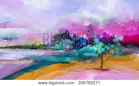Abstract colorful oil painting on canvas. Semi abstract image of tree ,field, meadow. Landscape paintings background. Modern art oil paintings with green, red and blue. Contemporary art for background stock photo