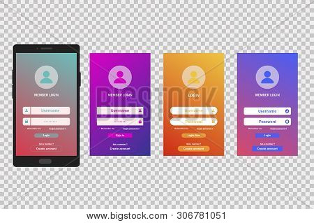 Login gradient screen template. Mobile application. Register account. User page form. stock photo