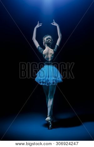 A full length portrait of an elegant refined ballet female dancer posing in the studio over the black background. Talent, fashion for ballet dancers.  stock photo