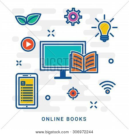 Online Library, Online Books. Flat Line Design Website Banner Of E-learning, E-book, Online Educatio