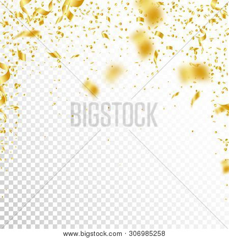 Streamers and confetti. Gold tinsel and foil ribbons. Confetti falling rain on white transparent background. Awesome paty overlay template. Authentic celebration concept. stock photo