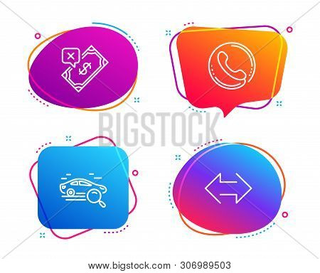 Search car, Call center and Rejected payment icons simple set. Sync sign. Find transport, Phone support, Bank transfer. Synchronize. Speech bubble search car icon. Colorful banners design set. Vector stock photo