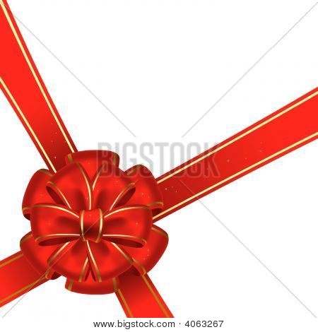 Red christmas bow on a white background stock photo