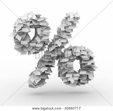 Alphabet maked from paper sheets in stack stock photo