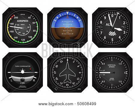 Set of six aircraft avionics instruments. Eps 10 vector illustration. stock photo