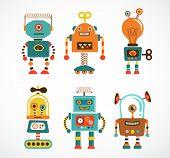 Set of charming vintage robots
