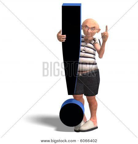 3D rendering of a a funny senior with webpage elements with clipping path and shadow over white stock photo