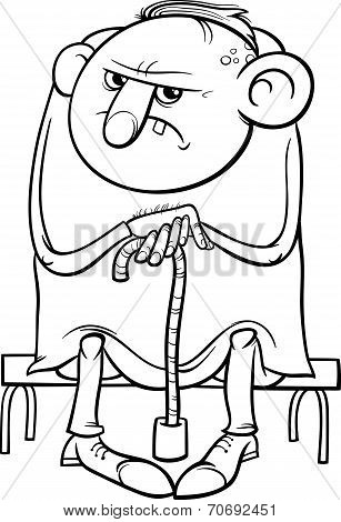 Black and White Cartoon Illustration of Grumpy Old Man Senior for Coloring Book stock photo