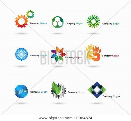Several logo elements, which can be used as your company logo. stock photo