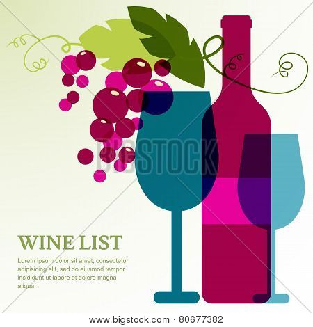 Wine Bottle, Glass And Branch Of Grape With Leaves.